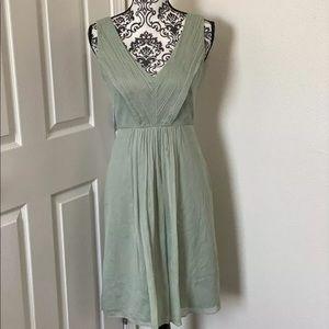 J Crew 100% Silk Dress Sage Mint Chiffon Heidi